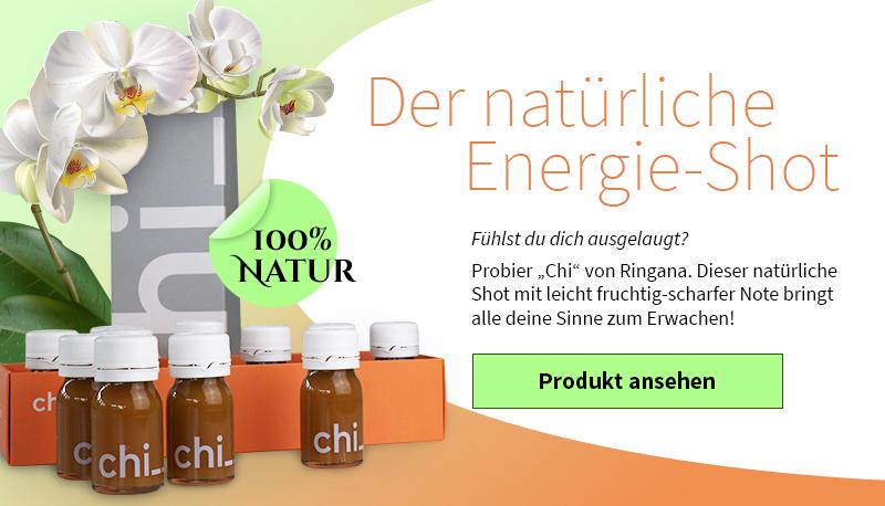natürliche Energieshot Produktwerbung